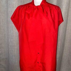 Vintage Button Up Neck Tie Blouse